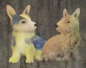 Painting of two dogs with ears pricked up