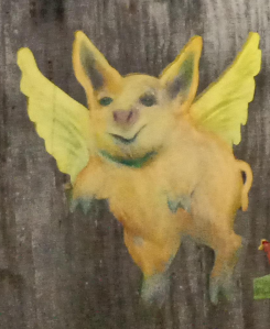 painting of flying pig