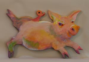 Running pig painting